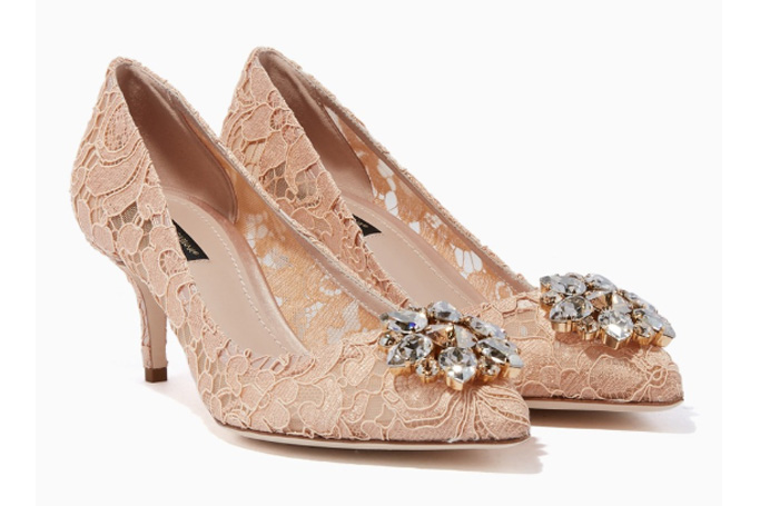 Dolce & Gabbana - Blush Bellucci Embellished Lace Pumps